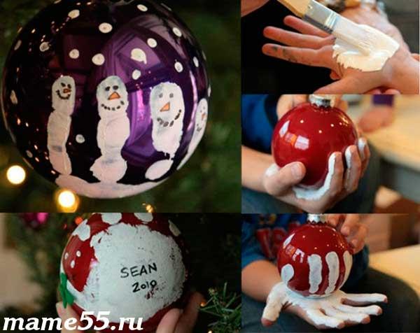 новогодние шары с отпечатками