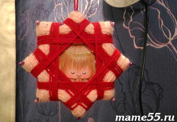 рождественская звезда из ниток